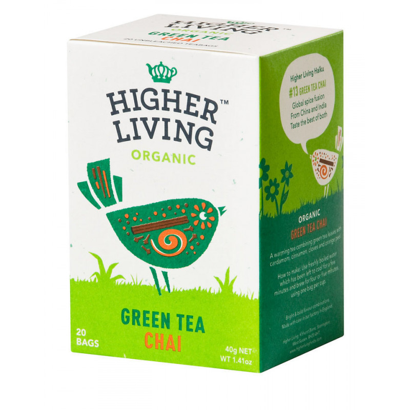 GREEN TEA CHAI - Thé vert chai bio - Higher Living
